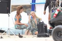 Minka Kelly, Annie Ilonzeh and Rachael Taylor film Charlie's Angels on a beach in Miami 02-09-11
