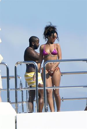 Rihanna enjoying a break on a yacht in Ponza