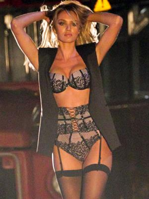 Candice Swanepoel on the set of a VS lingerie commercial in Los Angeles - August 9, 2014