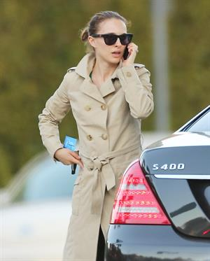 Natalie Portman heads to a meeting in her trench coat at an office in Century City January 17, 2013