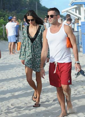 Alessandra Ambrosio – beach candids in Miami 12/6/13
