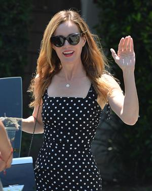 Leslie Mann leaves a private party in Brentwood on August 10, 2014 wearing a black and white polka dot dress