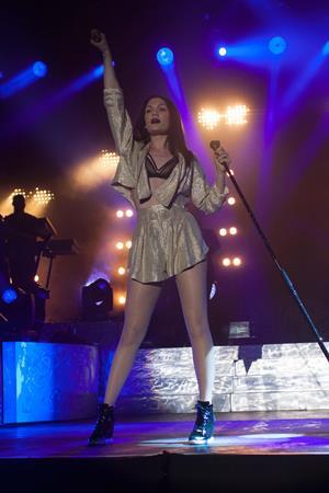 Jessie J performing at Sandown Park Racecourse in Esher, Surrey, England August 7, 2014