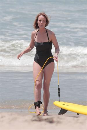 Helen Hunt wearing a swimsuit on the set of 'Ride' in LA August 5, 2013