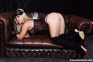 Playboy Cybergirl - Azzra Hughes on leather couch Nude Photos & Videos at Playboy Plus!