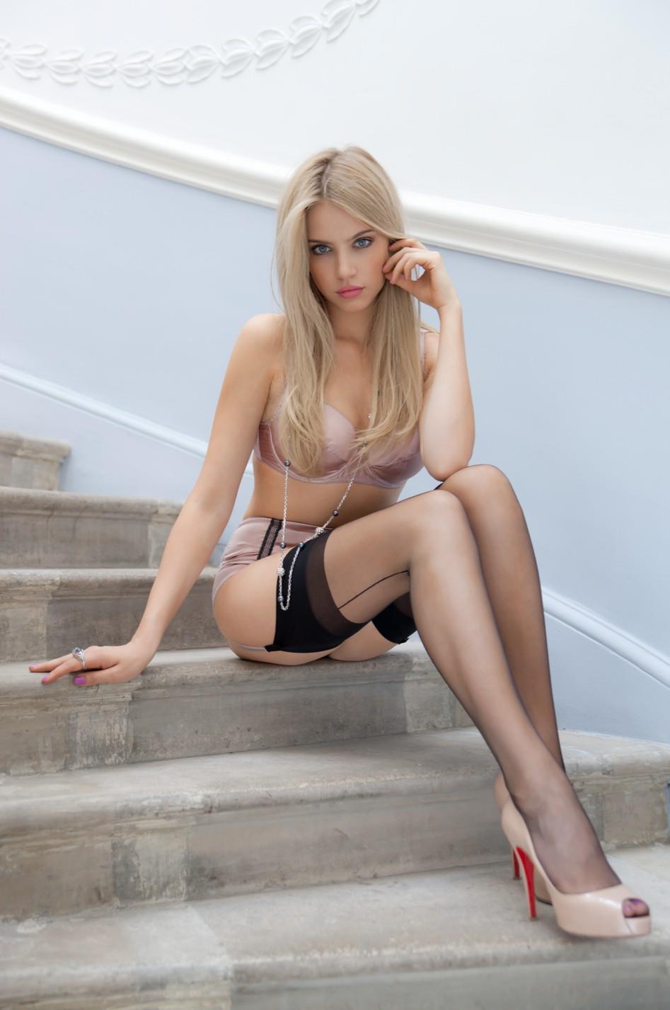 Xenia Tchoumitcheva in lingerie