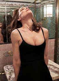 Katie Holmes new photoshoot in different sexy lingerie and outfits showing nice cleavage with her big tits.