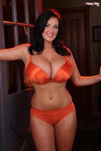 Sarah Randall Looking Gorgeous in Her Orange Pair of Lingerie